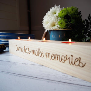 Personalised Wooden Three Tealight Candle Holder