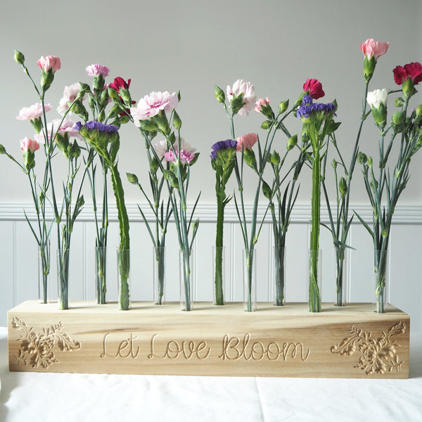 Personalised Carved Floral Test Tube Vase