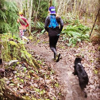 Trail time with the Girls earlier today. Got us all out in spite of the wet and cold.