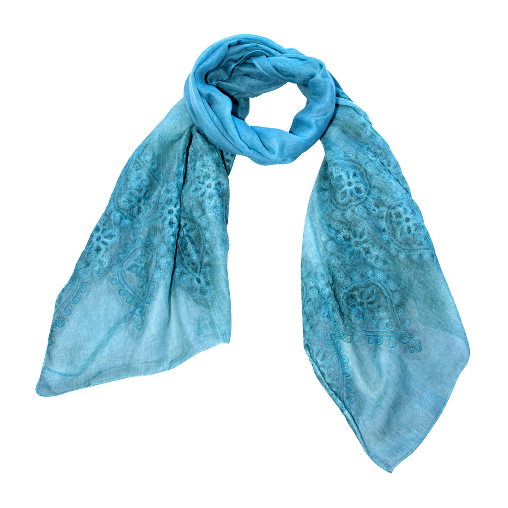 Viscose & Cotton Aqua Self Coloured Scarf