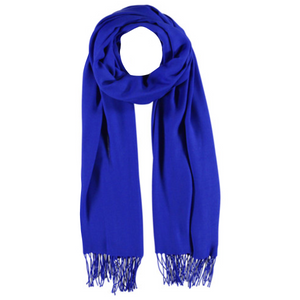 Viscose & Cotton Scarf with Tassels in Blue