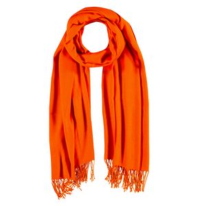 Viscose & Cotton Scarf with Tassels in Orange