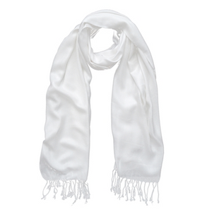 Viscose & Cotton Scarf with Tassels in White