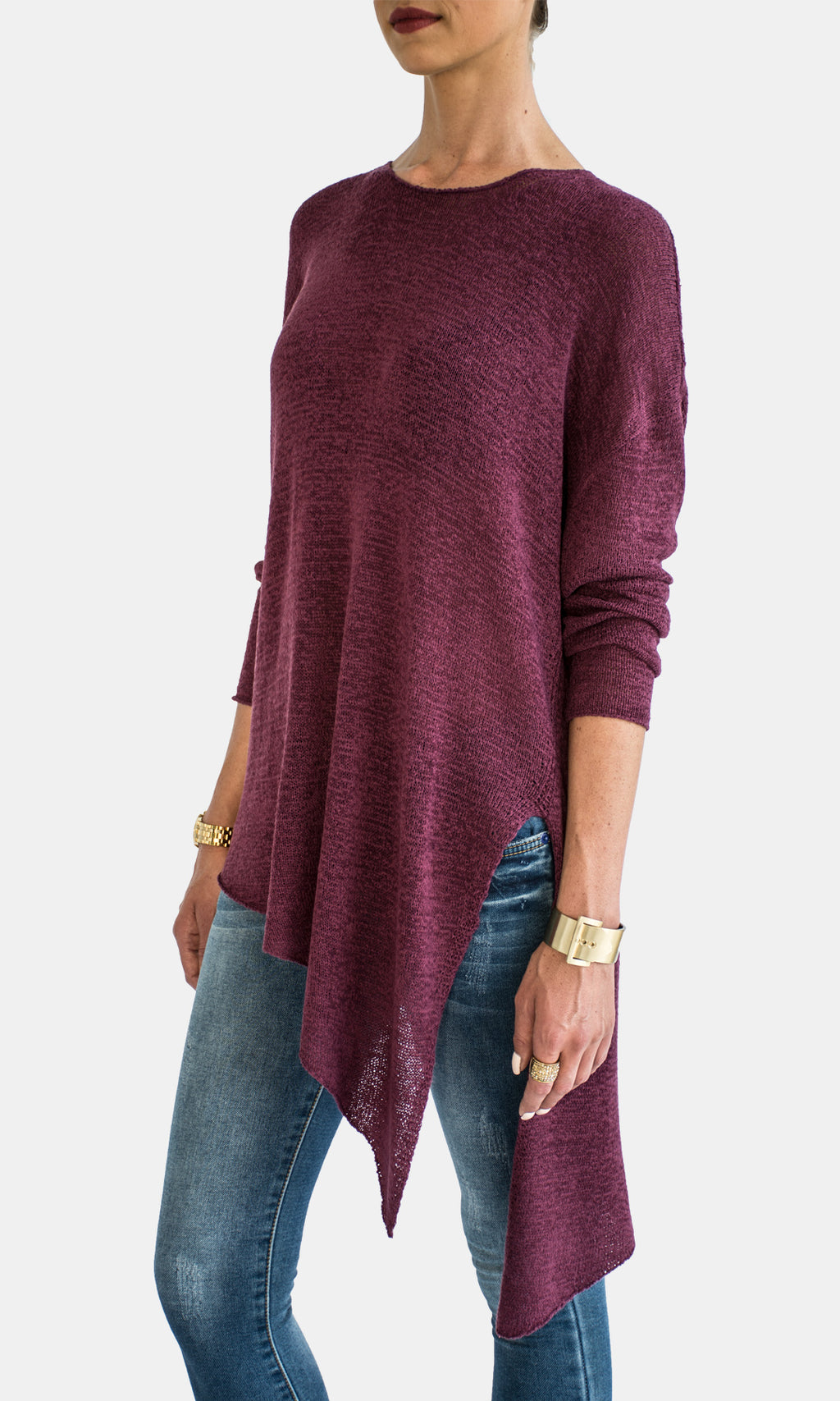 Berry Side Slit Sweater