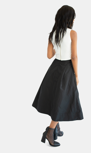 Black Taffeta Poly Skirt