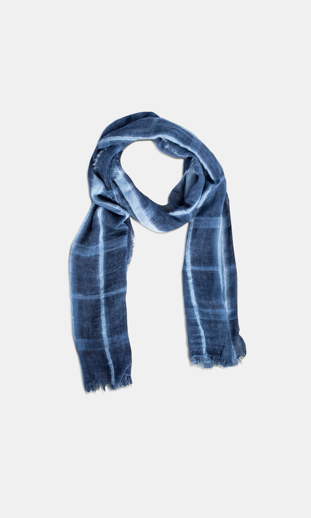 Viscose & Cotton Navy Check Scarf