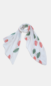 Viscose & Cotton  Beige Embroided Leaf Scarf