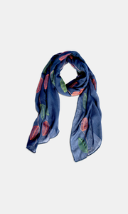 Viscose & Cotton Navy Leaf Embroidered  Scarf