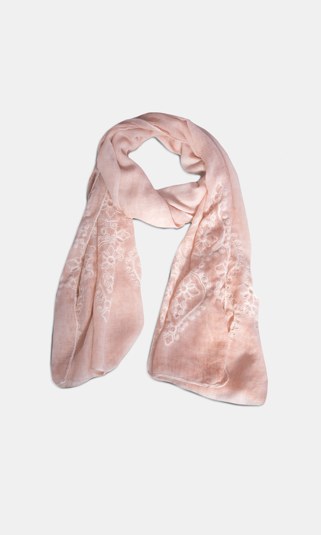 Viscose & Cotton Embroidered Peach Scarf