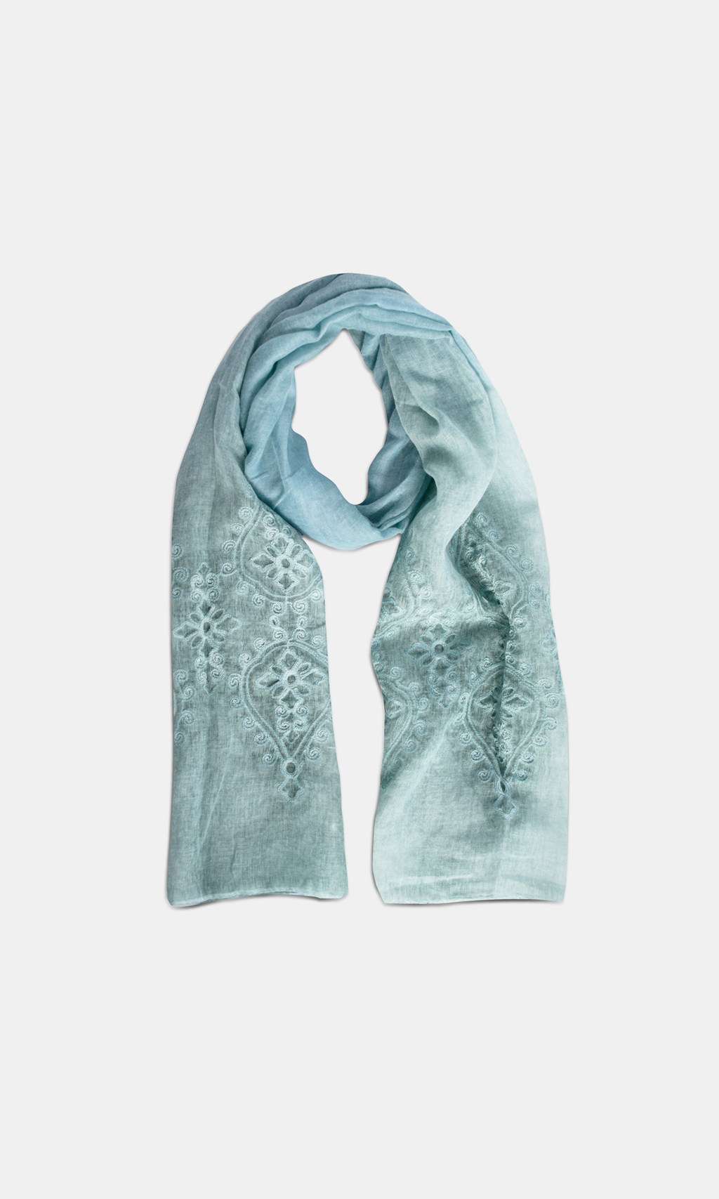 Viscose & Cotton Embroidered Pale Turquoise Scarf