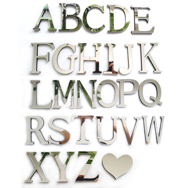 2017 new acrylic sticker love characters letters home decoration english 3d mirror wall stickers alphabet logo