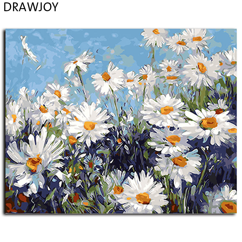 Hot Selling Framed Flower DIY Painting By Numbers Wall Art DIY Canvas Oil Painting Home Decor For Living Room 40*50cm GX4227