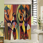 2017 New Different Custom Waterproof Bathroom African Woman Shower Curtain Polyester Fabric Bathroom Curtain