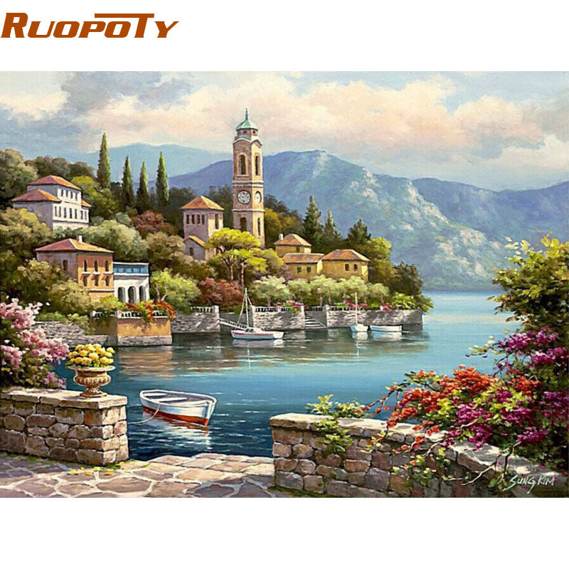 RUOPOTY Romantic Harbor Seascape Diy Painting By Numbers Kit Acrylic Paint On Canvas Handpainted For Home Wall Art Picture 40X50