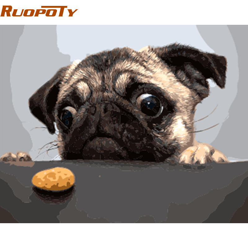 RUOPOTY Unframe Dog And Cake DIY Painting By Numbers Modern Wall Art Picture Handpainted Oil Painting Unique Gift Home Decor Box