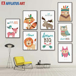 AFFLATUS Nordic Canvas Painting Cartoon Animal Minimalism Nursery Wall Art Posters And Prints Wall Pictures Kids Room Baby Decor