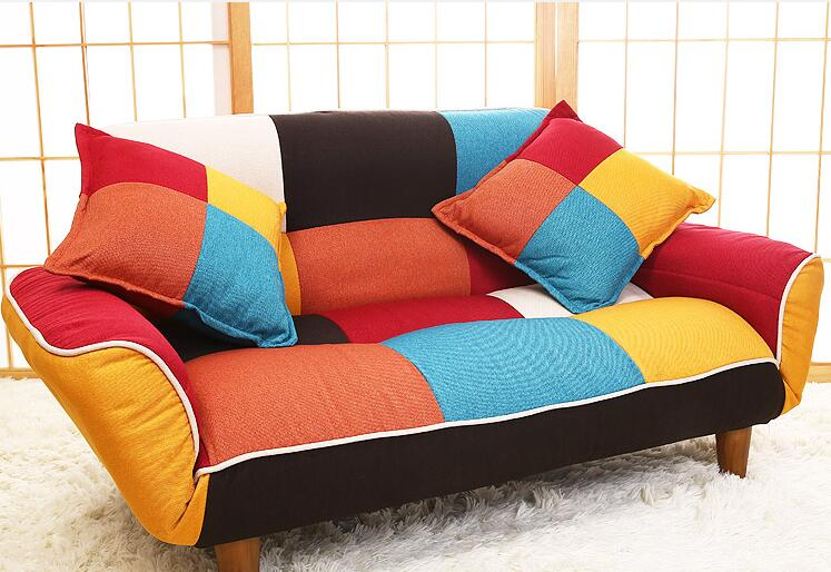 Adjustable Sofa and Loveseat in Colorful Line Fabric Ideal for Living Room, Bedroom, Dorm