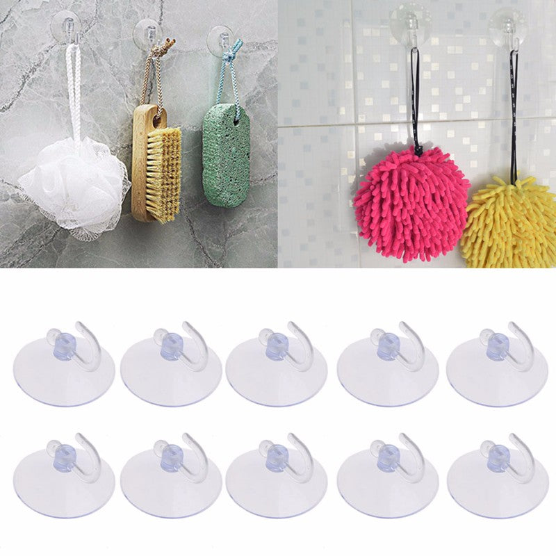 Strong Suction Cup Hooks Hanger for Glass, Window or Wall; 10PCS