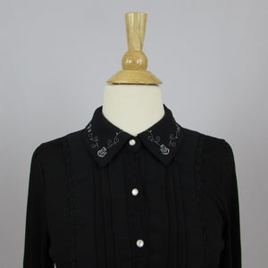 Axes Femme Rose Embroidery Blouse - Cherry Cordial