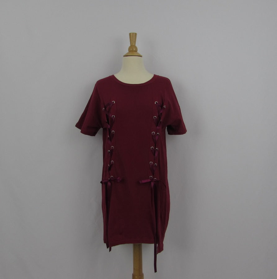 Ank Rouge Burgundy T-Shirt Dress