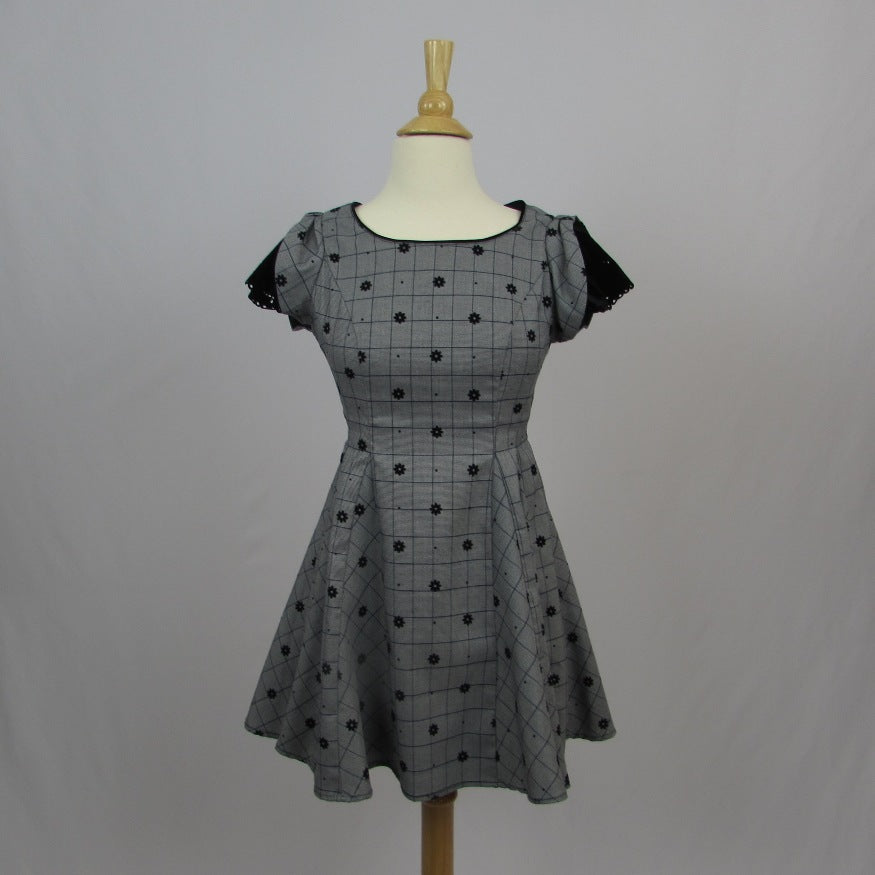 Secret Honey Grey Hounds Tooth Dress - Cherry Cordial