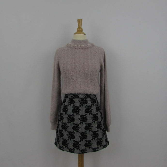 Ank Rouge Grey & Black Roses Skirt