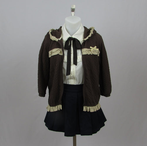 Shirley Temple Brown Knit Jacket - Cherry Cordial