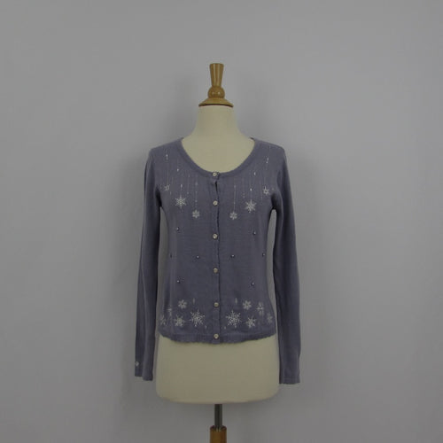 Axes Femme Lavender Snow Flake Cardigan