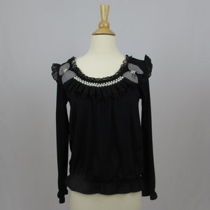 Axes Femme Pearls & Bows Top - Cherry Cordial