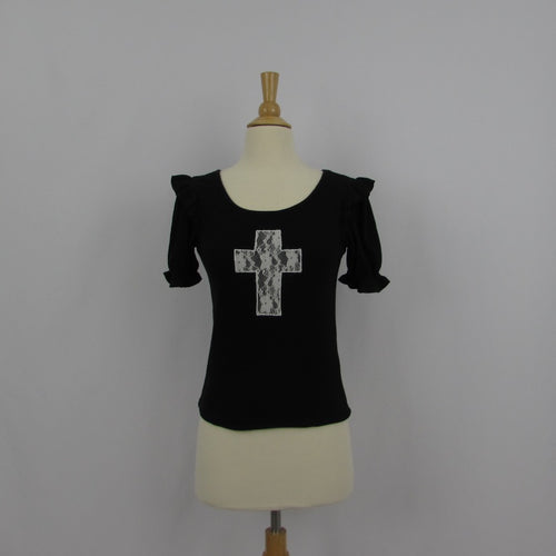 Ank Rouge Lace Cross Knit Top