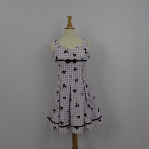Ank Rouge Purple Gingham Poodles Dress