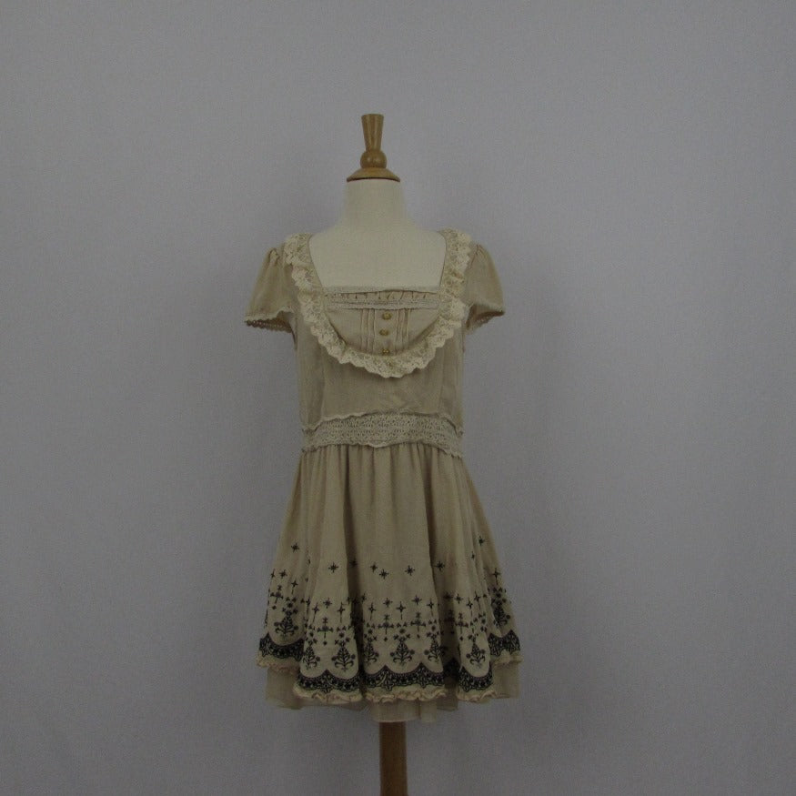 Axes Femme Cream Embroidery Dress