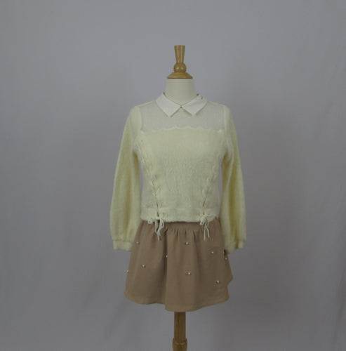 Liz Lisa Cropped Cream Sweater NWT - Cherry Cordial