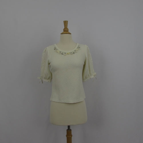 Liz Lisa Gem & Bows Cream Knit Top