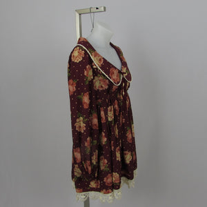 Liz Lisa Burgundy Fall Floral Dress - Cherry Cordial