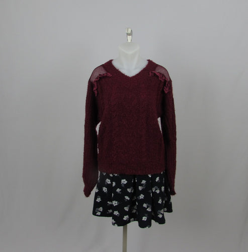 Liz Lisa Burgundy Hearts Sweater - Cherry Cordial