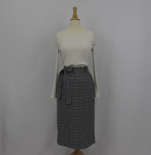 Gu Plaid Pencil Skirt