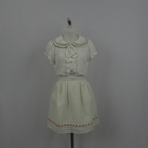 Ank Rouge Cream Gingham Skirt