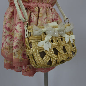 Liz Lisa Woven Basket Bag - Cherry Cordial