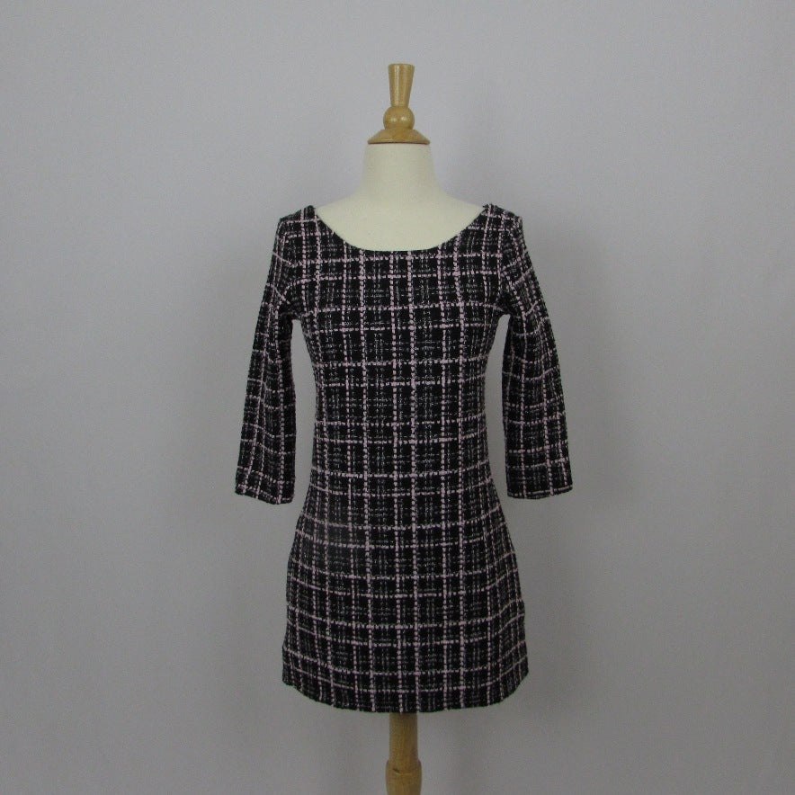 Julia Boutique Black and Pink Plaid Dress NWT