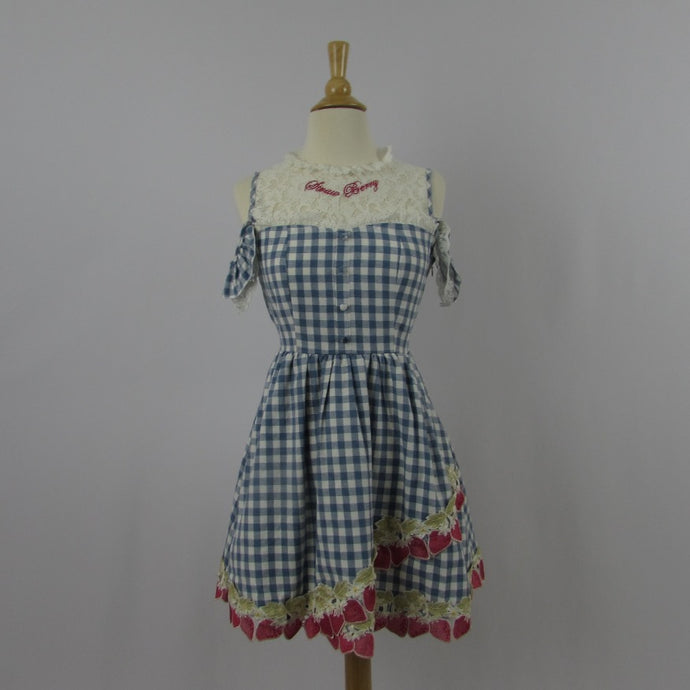 Liz Lisa Blue Gingham & Strawberry Dress NWT