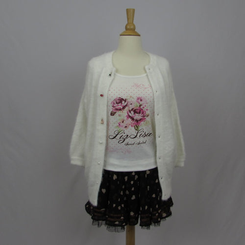 Swankiss White Cardigan NWT - Cherry Cordial
