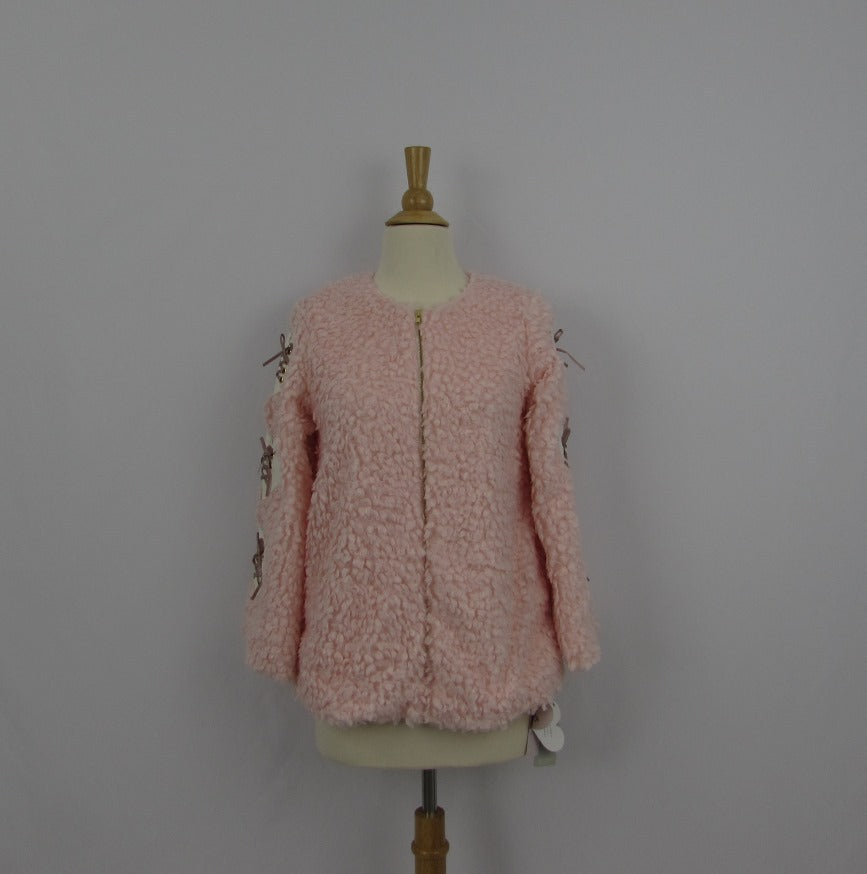 Ank Rouge Pink Faux Fur Jacket NWT