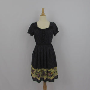 Axes Femme Plaid Fall Floral Dress NWT