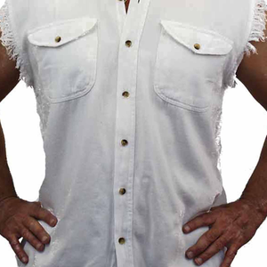 Men's WHITE American Pride Sleeveless Denim Shirt