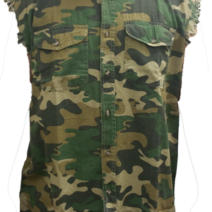 Men's Camo Shut Up And Drive Sleeveless Denim Shirt - Edward Coy
