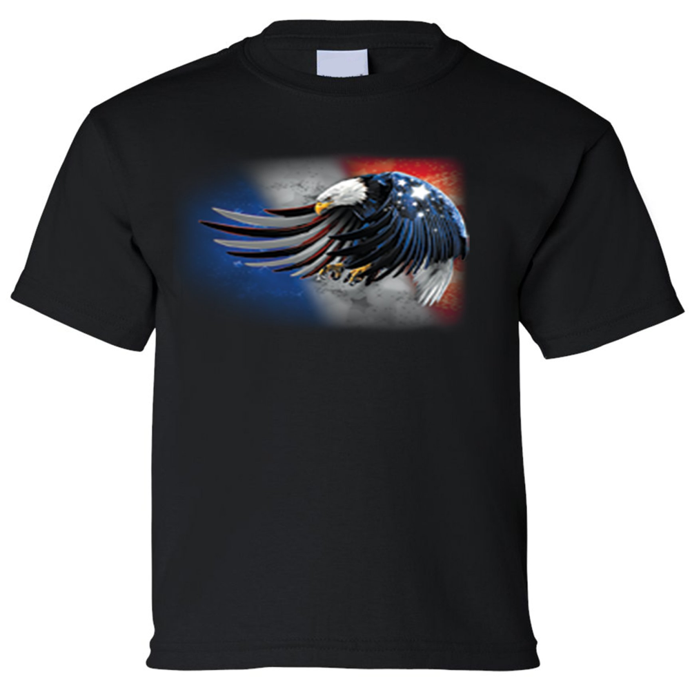 Kids Patriotic Bald Eagle Short Sleeve T-Shirt - Edward Coy