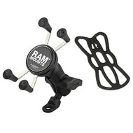 RAM Mount 9mm Angled Base Motorcycle Mount w/Short Double Socket Arm & Universal X-Grip Cell/iPhone Cradle
