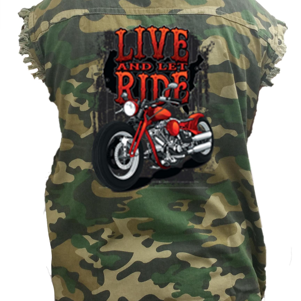 Men's Camo Live And Let Ride Motorcycle Sleeveless Denim Shirt - Edward Coy