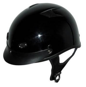 DOT Vented Gloss Black Motorcycle Beanie Helmet - Edward Coy